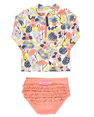 ラッフルバッツ 水着 長袖ラッシュガード Long Sleeve Rash Guard Bikini Tropical Flamingo Zipper 18-24m(80)