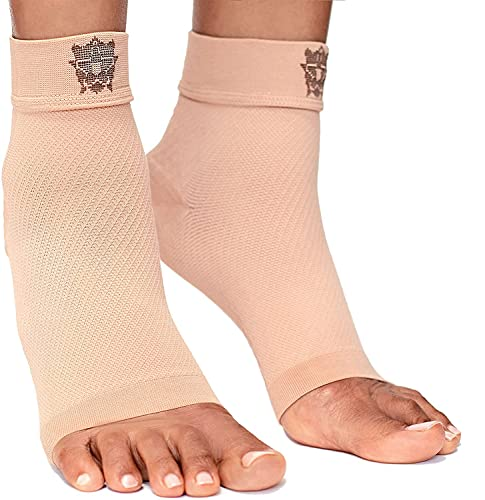 Bitly Plantar Fasciitis Compression Socks for Women & Men - Best Ankle Compression Sleeve, Nano Brace for Everyday Use - Provides Arch Support & Heel Pain Relief (Nude, X-Large)
