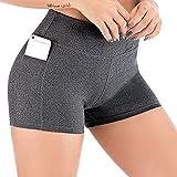 Pantalones cortos informales para mujer, cintura alta atlética, pantalones de yoga, bolsillos laterales para teléfono móvil, leggings, pantalones cortos de algodón, color negro -  Multi color -  Small