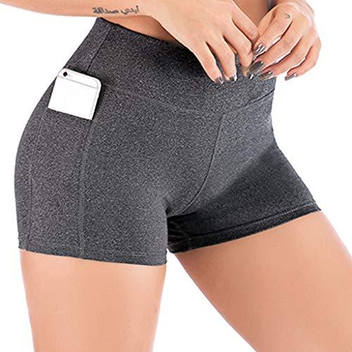 Shinehua korte sportbroek voor dames, yogabroek, leggings met zakken, loopshorts, yoga, sport, short, rekbaar, joggingbroek, yoga, sport, fitness, hardlopen