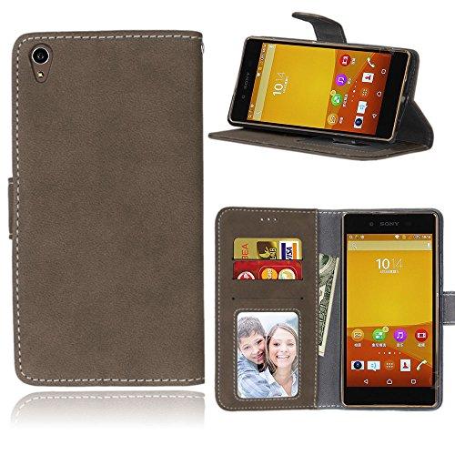 Funda Sony Xperia Z3+ Z3 Plus / Z4 E6553,Bookstyle 3 Card Slot PU Cuero Cartera para TPU Silicone Case Cover(Castaño)