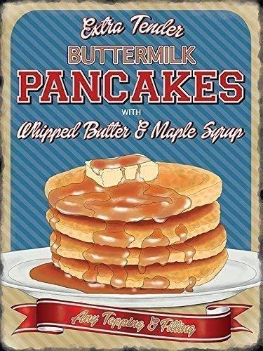 Buttermilk Pancakes mit whipped butter und ahorn sirup Alle belag und Füllung. Amerikanisch / Kanadische Frühstück. Retro vintage alt design Werbung 50er jahre. Ideal für haus, heim, verbindung, cafe, küche, laden oder pub, B&B oder hotel Metall/Stahl Wandschild - 30 x 40 cm