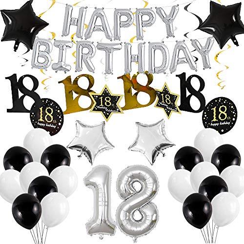 Decoración de cumpleaños número 18 para niño: globos de papel plata,  pancarta de feliz cumpleaños,  guirnaldas en espiral globos número para niños niñas de 18 años fiestas decoraciones de cumpleaños.