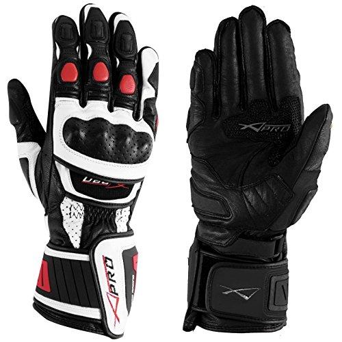 A-Pro Guanto Pista Racing Protezioni Tecnico Sport Pelle Moto Bianco/Rosso M