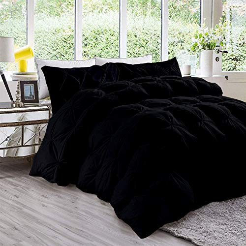 Nehit Comforter All-Season King/California King Sized 94 by 104 inch Black Solid, 3 Piece Quilted Pinch Pleated Comforter Set 1000 TC Cotton(Comforter Cover/Pillow Insert Not Included)