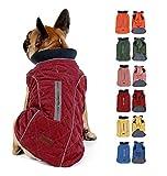 Komate Abrigo de Invierno para Perros Chaleco cálido con Vestido de Rayas Reflectantes para Perros pequeños medianos Grandes (M (Cofre: 50-58cm), Rojo)