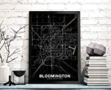 Bloomington Illinois Il Map Poster Black White Hometown City Home Decor Office Decoration Wall Art Dorm Bedroom Gift | 11×17, 16×24, 24×36 inch- Unframed Wall Art