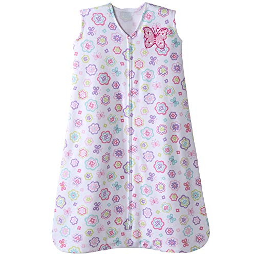 Halo Sleepsack Cotton Wearable Blanket, White Floral Print, Small