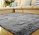 Yontree Tapis de sol Shaggy Confortable Moquette Anti-dérapage Absorbant Velours Décoration 120cm x 80cm Gris