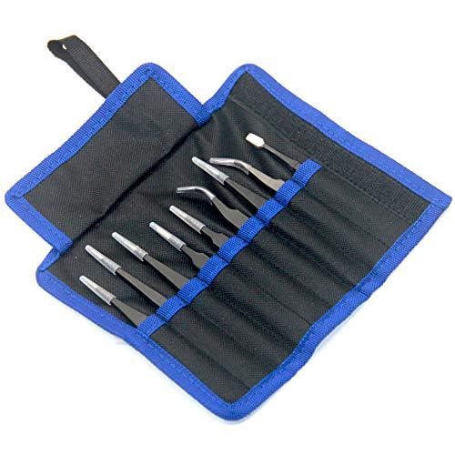 Ewparts 9 PiecesTweezers Set ESD Antistatische Pinzette Repair Tool Kit mit Tasche für Computer / Mobile / Watch Repair, Schmuckherstellung, Labor und Präzisionsarbeit