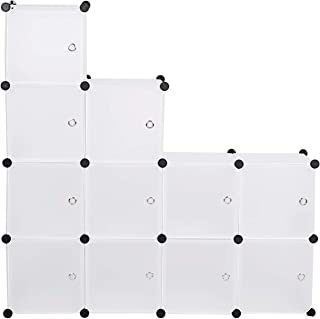 eSituro SGR0036 Armoire avec Penderie Modulable 11 Cubes avec Portes, Étagère de Rangement en Plastique. DIY, Blanc