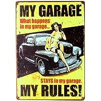 私のガレージ私のルール壁画金属錫サインパブクラブギャラリーポスターのヒントヴィンテージプラーク家の装飾プレートミックス注文-20x30cm