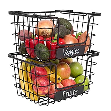 BirdRock Home Stacking Wire Market Baskets with Chalk Label | Set of 2 | Fruit Vegetable Produce Metal Storage Bin for Kitchen Counter | Black