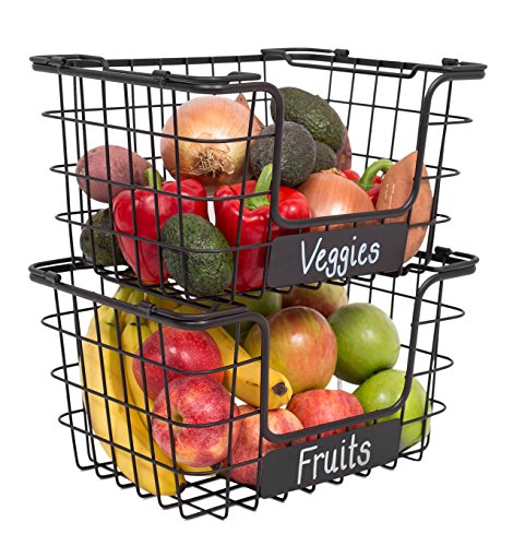 BirdRock Home Stacking Wire Market Baskets with Chalk Label - Set of 2 - Fruit Vegetable Produce Metal Storage Bin for Kitchen Counter - Pantry Cabinet - Bathroom Shelves - Metallic Black