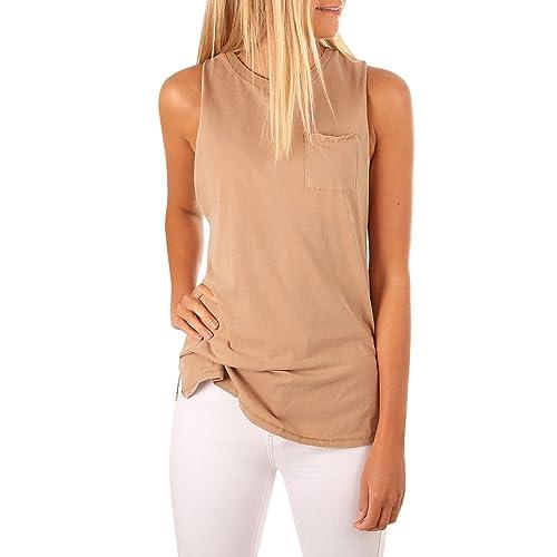 9000714c5 Women's High Neck Cami Tank Top Sleeveless T Shirts Plain Pocket 2018  Summer Tops