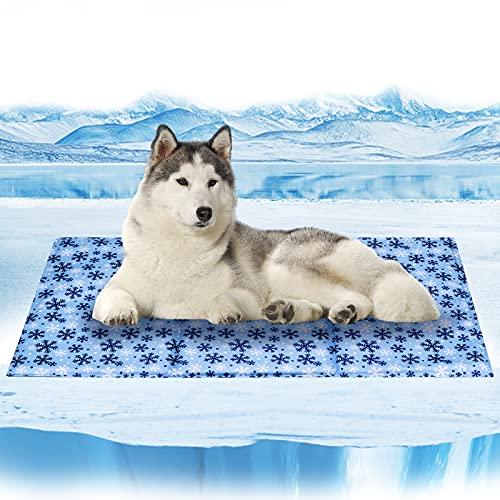 Tappetino Refrigerante per Cani Gatti Auto-Raffreddamento - Gel Attivato alla Pressione Non Tossico Gel Resistente Stuoia di Raffreddamento,Fiocco di neve-L(90*50CM)