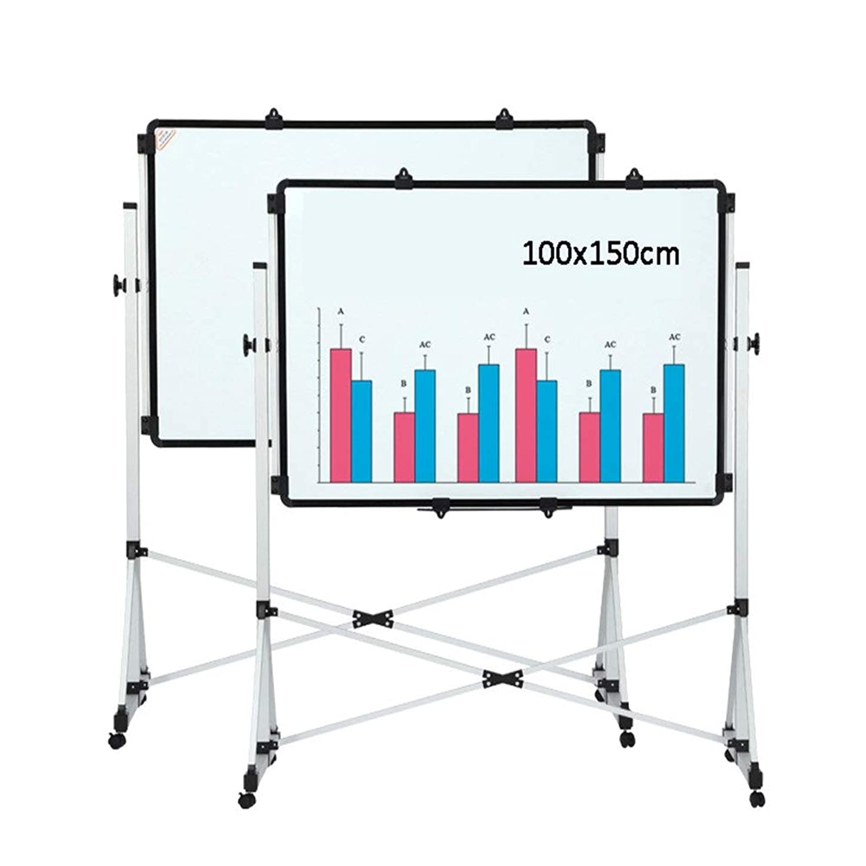 仮定貪欲債権者ホワイトボード 4ユニバーサルホイール、両面磁気モバイルホワイトボード、オフィス講義室の教授でブラケットホワイトボード 乾式消去ボード (色 : 白, サイズ : 100x150cm)