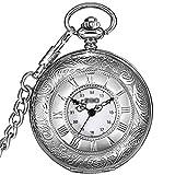 OMYLFQ Relojes de Bolsillo Collar de Reloj de época Romana impresión Blanco de la Plata del Reloj de Bolsillo Reloj de Cuarzo Reloj de Negocios Relojes Fob