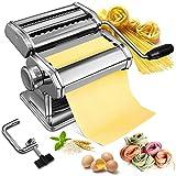 Máquina de pasta Fresca Soldow Manual Máquina para Hacer Pasta 9 cortes ajustes, Maquina Pasta de Acero Inoxidable Fácil Manejo Para Casa Cocina Fideos Masa Tagliatelle Lasaña Espaguetis Ravioli