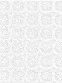 Graham and Brown 12011 Small Square Paintable Wallpaper Roll White
