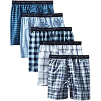 5-Pack Hanes Men's Tagless Tartan Boxer with Exposed Waistband