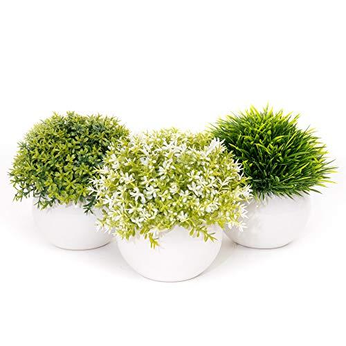 Coradoma Künstliche Pflanzen im Topf 3er Set Keramik Deko Pflanze Kunstpflanze mit Gras Mini Sukkulente Blumen Set Klein Kunstblumen für Balkon Büro Wohnzimmer Hochzeit Geschenk