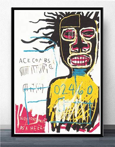 Flduod JeanGraffiti Künstler Malerei Poster und Drucke Moderne Leinwand Wandkunst Bild für Wohnzimmer Home Decoration-No Frame 60x90cm