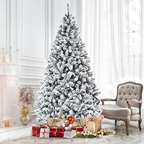 Goplus 7.5FT Artificial Snow Flocked Christmas Tree, Snowy Hinged Pine Tree, Premium PVC Needles/Solid Metal Stand, Xmas Full Tree for Indoor and Outdoor