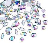 Hicarer 108 Pièces AB Gemmes Acrylique Clair Strass Cristal à Coudre, Rhinestone à Coudre Boutons en Cristal Flatback pour Vêtements Robe Décorations