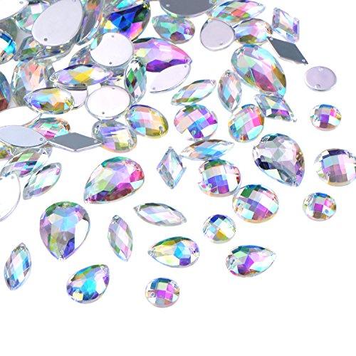Hicarer 108 Pezzi AB Trasparente Gemme Acrilico da Cucire Strass Sfaccettate Piatto Posteriore Pulsanti di Cristallo per Decorazioni dell'Abiti Vestito