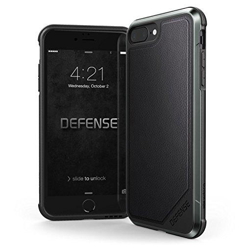 X-Doria iPhone 8 Plus & iPhone 7 Plus Case, Defense Lux - Military Grade Drop Tested, Anodized Aluminum, TPU, and Polycarbonate Case for Apple iPhone 8 Plus & 7 Plus, [Black Leather]