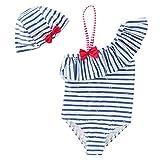 Chic-Chic Ensemble 2Pc Maillot de Bain Bébé Fille Bikini Rayé +Bonnet de Bain Une Pièce Dos Nue Elastique Bikini de Nataion Plage Vacances Printemps Eté Bleu 12-18mois