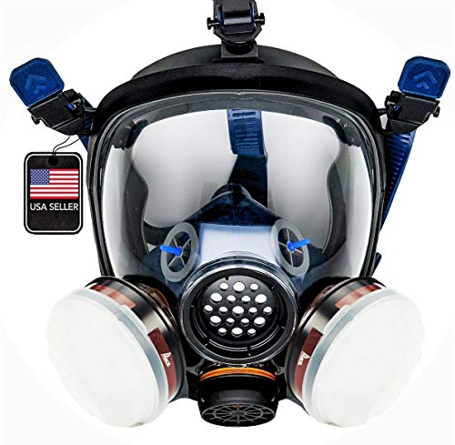 Full Face Organic Vapor Respirator - 1 Year Full Manufacturer Warranty - Eye Protection Mask