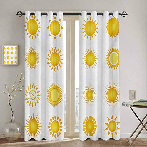 DONEECKL Yellow and White Doorway Curtain Various Different Sun Icons Summer Hot...