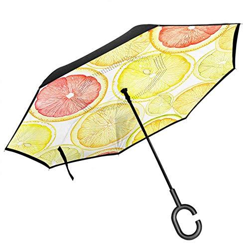 Dliuxf Lemon Umbrella Sommerfrüchte Lemon Orange Grapefruit Slice Juice mit Samen Car Reverse Inverted Windproof UV-Schutzschirm -K235
