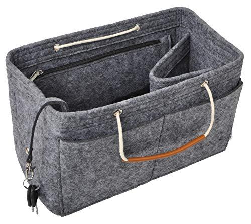 Vercord Felt Handbag Insert Purse Organizers Bag Tote with Handle for Neverfull Speedy Women Dark Grey Medium