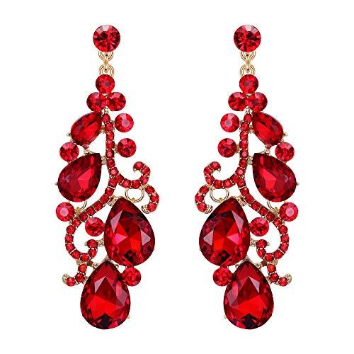 EVER FAITH Mujer Cristal Austríaco Boda Flor Vid Araña Pendientes Colgante Rojo Tono Dorado