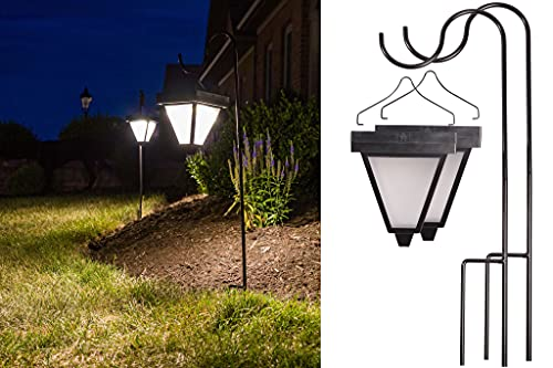 """Brightlite Outdoor Hanging Solar Lights 2 Pack Ultra Bright 60 Lumen Output Carriage Coach Style Lanterns with 30"""" Tall Metal Shepherd's Hook & 21 Hour Battery Life"""