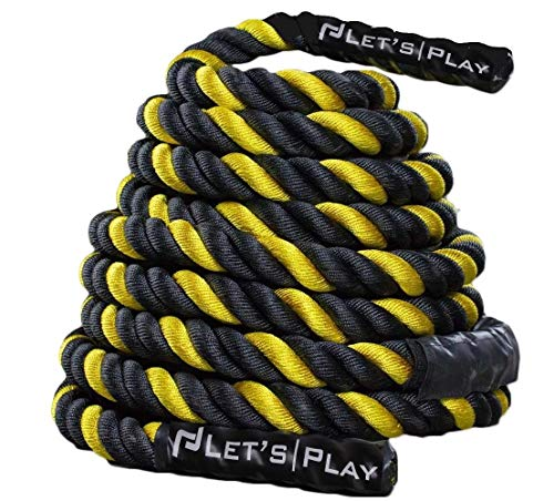 "Letsplay V2 Color Battle Ropes/Pure Poly Dacron Battle Rope for Strength and Conditioning Workouts – Now Special Pricing on 1.5"" and 2"" Diameter, 30ft, 40ft, 50ft Options"