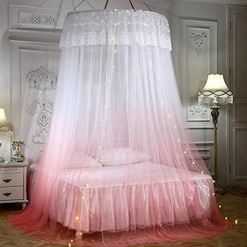 QQA Große romantische Farbverlauf Kuppel Moskitonetz Vorhang Prinzessin Bett Baldachin Spitze Runde Zelt Bettwäsche, mit Lichterkette, lila (Color : Orange)