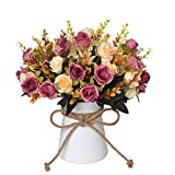 Artificial Flowers in Vase, Fake Rose Flowers Bouquet with Ceramics Vase, Silk Flower Arrangements Table Centerpieces, Wedding Flowers Bouquets for Office Meeting Room Home Décor (Brown)