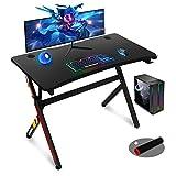 45 Inch Gaming Desk,R Shaped Gaming Table PC Computer Desk Home Office Desk for Men Women/Son (Black)