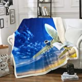 Feelyou Aircraft Throw Blanket Kids Teens Airplane Print Fleece Blanket for Couch Bed Sofa Aircraft Flying Sherpa Blanket Soft Flying Plane Travel Plush Fuzzy Blanket Room DecorThrow 50'x60'