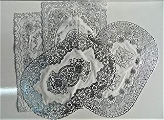 Coprimensola in pizzo plastica bianco 150 x 36 cm bordi per scaffali