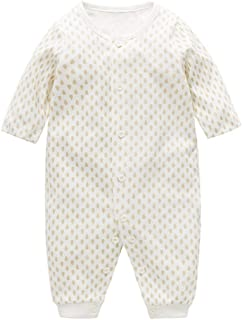 ALLAIBB Infant Baby Boys Girls Floral Outfit Cotton Long Sleeve Romper Sleeper Pajamas