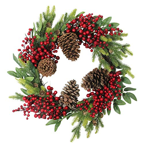 Christmas Wreath 22' Artificial Pinecone Red-Berry and Pine Sprig - Holidaay Decorationss - XMAS10