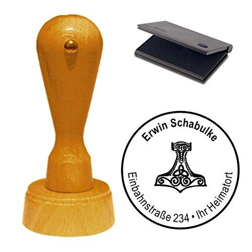 Stempel mit Kissen « THORS HAMMER » Adressenstempel Firmenstempel Heide Germane Wikinger Thorshammer