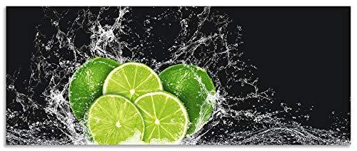 Artland Spritzschutz Küche aus Alu für Herd Spüle 150x60 cm Küchenrückwand mit Motiv Essen Obst Früchte Limette Eiswasser Modern Dunkel H9KL