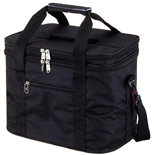 Msicyness Extra große Kühltasche Lunch-Tasche für Erwachsene Doppeldecker Abteil Kühltaschen mit Internen Geschirr Platzierung Gerät Set Isolierte Kühler Box für Männer und Frauen(17.8L, Schwarz)
