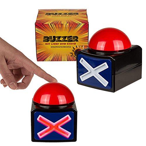 Party-Buzzer mit Licht & Sound | Party Zubehör | Sound Machine | Buzzer Button | Party Deko | lustige Geschenke | Geschenk für Jungen | Preis am Stiel®